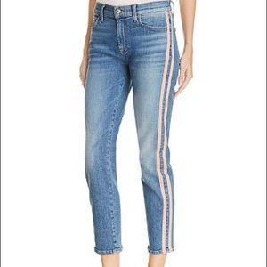 7 For All Mankind Roxanne Pink Stripe Crop Jeans